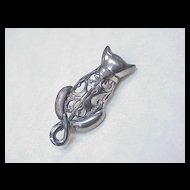 Vintage Jezlaine Filigree CAT Pin / Brooch Sterling Silver