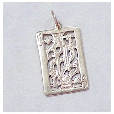 Vintage 14k Gold Charm ~ King of Hearts CARD