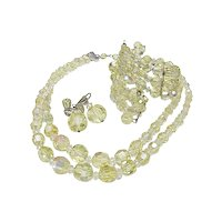 Chartreuse Crystal Parure Necklace Earrings & Bracelet, Laguna