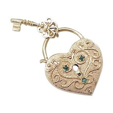 Large 14k Gold HEART Lock & Key Charm Jeweled Accent