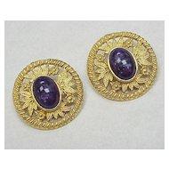 Les Bernard Large Gold Tone Clip Earrings