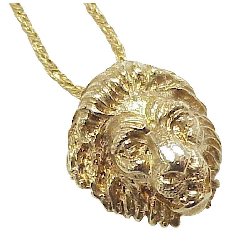 Regal 18k gold lion head pendant necklace 14k gold sold ruby lane regal 18k gold lion head pendant necklace 14k gold mozeypictures Image collections