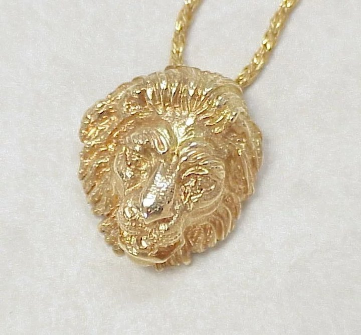 Regal 18k gold lion head pendant necklace 14k gold sold ruby lane regal 18k gold lion head pendant necklace 14k gold aloadofball Choice Image
