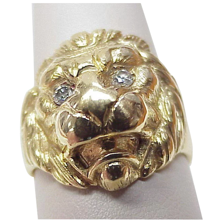 71128168d2444 Majestic LION Head Ring 18k Gold Diamond Eyes, Hand Crafted