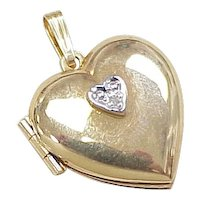 Heart Charm / Locket 14k Gold Diamond Accent