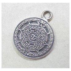 Vintage Sterling Silver Charm ~ Mayan Calendar, Mexico