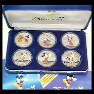 Set of 6 Silver Proof Medallions Mickey Mouse In Presentation Box