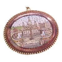 Grand Tour Micro-Mosaic Pendant / Necklace St. Peters ROME 14k Gold