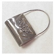 Vintage Miniature Purse / Handbag Pendant Sterling Silver