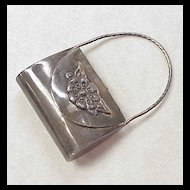 Vintage Miniature Purse / Handbag Pendant Sterling Silver