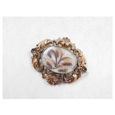 Victorian 8k Gold Mourning Brooch / Pendant With Hairwork