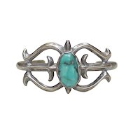 Native American Cuff Bracelet Sterling Silver & Turquoise