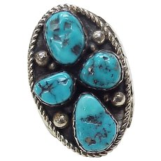 Native American BIG Turquoise & Sterling Ring