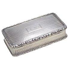 Nathaniel Mills 1835 Snuff Box Sterling Silver
