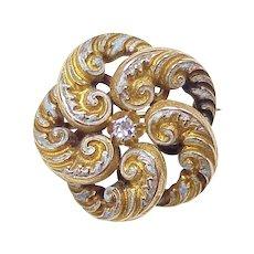 Art Nouveau Brooch 14k Gold & Diamond Enameled