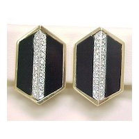 Vintage Earrings Onyx & Diamond 14k Yellow & White Gold