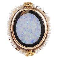 Victorian Era Ring 10k Rose Gold, Seed Pearl, Harlequin Opal & Onyx