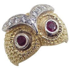 OWL Ring 18k Gold Ruby & Diamond Accent