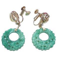 Vintage Earrings Czech / Peking Glass Dangle Screw Back