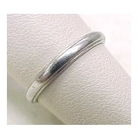 Vintage Platinum Wedding Band 1948 Half Round Edge size 6-1/2