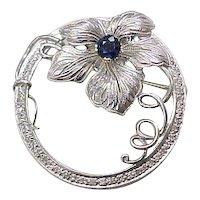 Art Nouveau PLATINUM Brooch Sapphire & Diamond 1.43 CTW