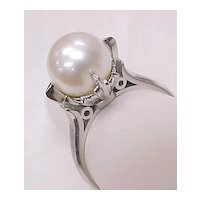 Vintage Ring Platinum 9 mm Pearl Solitaire