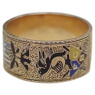 Fraternal / Knights of Pythias Ring 14k Gold Enamel Inlay