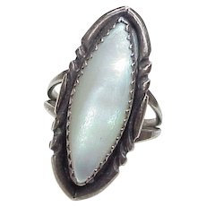 Native American Ring Sterling Silver Mother of Pearl, Ramone