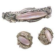 Bracelet & Earring Set Sterling Silver & Pink Mother of Pearl