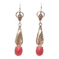Vintage Red Coral Fancy Long Dangle Earrings 1950's