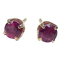 Vintage RUBY .92 ctw Stud Earrings 14k Gold