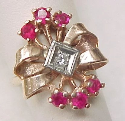 Retro 14k Rose Gold Ring Ruby Amp Diamond Double Bow
