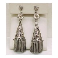 Vintage 800 Silver Long Dangle Earrings Filigree Art Deco