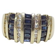 Sapphire & Diamond Ring 14k Gold, 1.72 Carats Total Weight