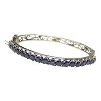 Natural Sapphire 6.80 ctw Bangle Bracelet 14k Gold