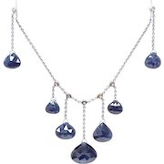 Sapphire Necklace & Earring Set 18k White Gold Diamond Accent