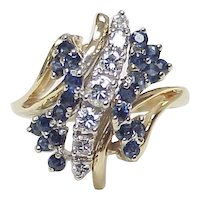 Diamond & Sapphire Waterfall Cocktail Ring 14k Gold