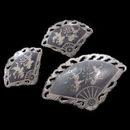 Siam Sterling Silver Niello Clip Earrings & Brooch