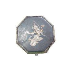 Vintage Siam Niello Sterling Silver Compact circa 1950's