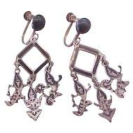 Vintage SIAM Sterling Silver Screw Back Earrings
