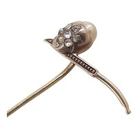Figural Stick Pin SMOKING PIPE Rose Cut Diamonds & Pearl