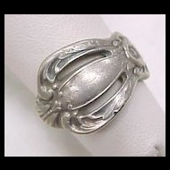 Vintage Silver Plate Spoon Ring Pierced Design Unknown Maker
