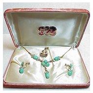 Peking Glass 12K GF Necklace & Earring SET in Original Box 1950's