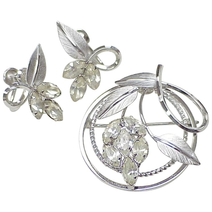 Vintage Star Art Brooch Earring Set Sterling Silver Rhinestone