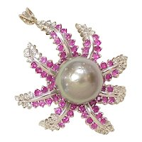 Tahitian Pearl, Diamond & Ruby Pendant / Brooch 18k White Gold