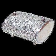 Vintage Tea Box, Repousse ~ The Quack, Silver Plate