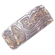 Navajo Cuff Bracelet 14k Gold & Sterling Silver, Kokopelli by Leroy Thomas / Turquoise