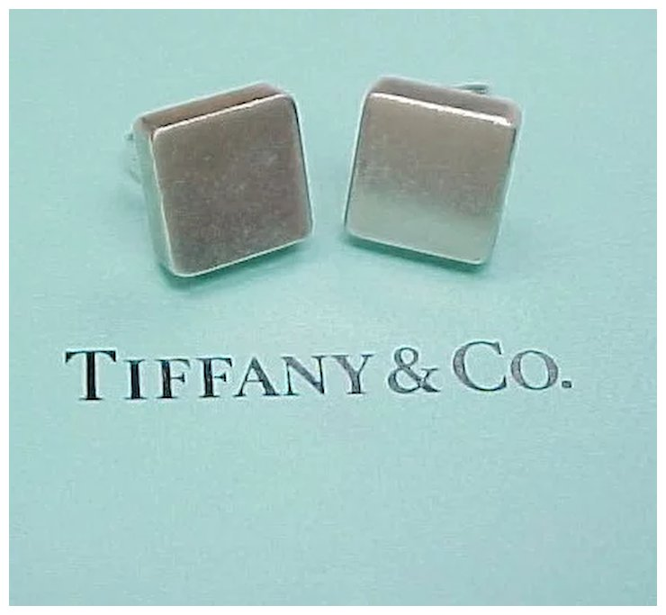 Rare Retired Tiffany Co Sterling Silver Square Earrings