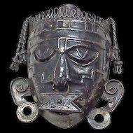 Aztec or Mayan Warrior Tribal Mask Pendant / Brooch