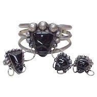 Vintage Tribal Mask SET Bracelet Ring & Earrings Sterling Silver & Onyx